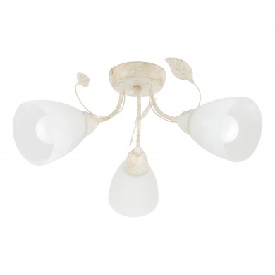 Cream and Gold 3 Light Floral Ceiling Fitting with Marbled Glass Shades