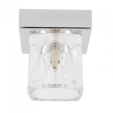 Chrome Flush Light with Ice Cube Glass Shade