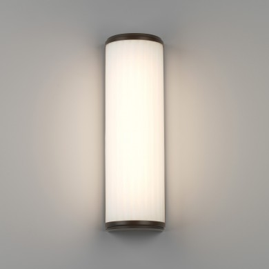 Bronze & Ribbed Glass 400mm LED Bathroom Wall Light