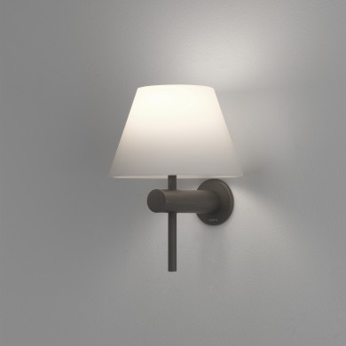Bronze IP44 Bathroom Wall Light with Glass Shade
