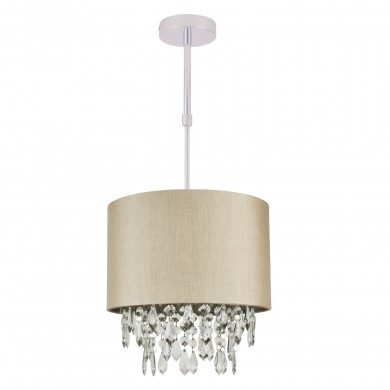 Pale Gold 250mm Ceiling Adjustable Flush Shade with Matching Inner and Clear Droplets