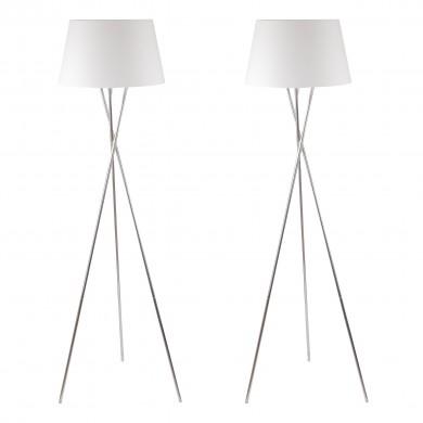 Pair Chrome Twist Tripod Floor Lamp with White Fabric Shade
