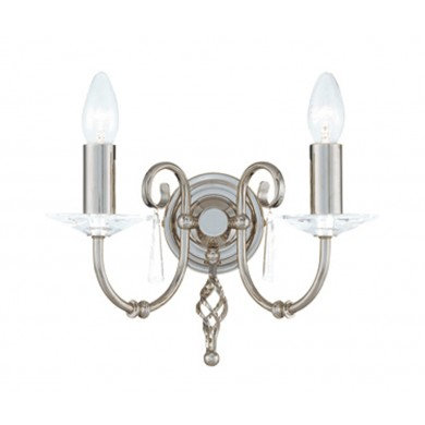 Nickel With Crystal Detailing 60W E14 Twin Wall Light