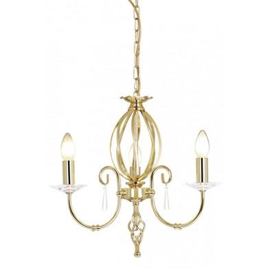 Brass 60W E14 3 Light Pendant