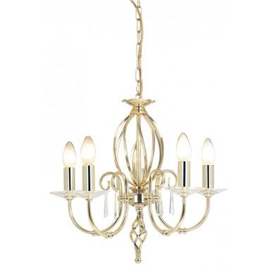 Brass 60W E14 5 Light Pendant