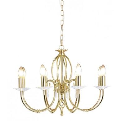 Brass 60W E14 8 Light Pendant