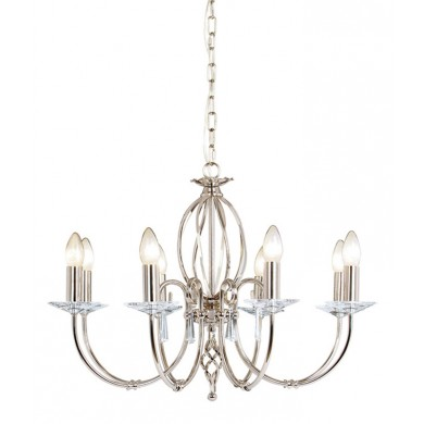 Nickel With Crystal Detailing 60W E14 8 Light Pendant