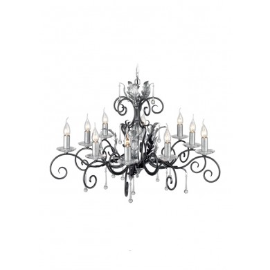 Black And Silver 60W E14 900mm Diameter 10 light Pendant