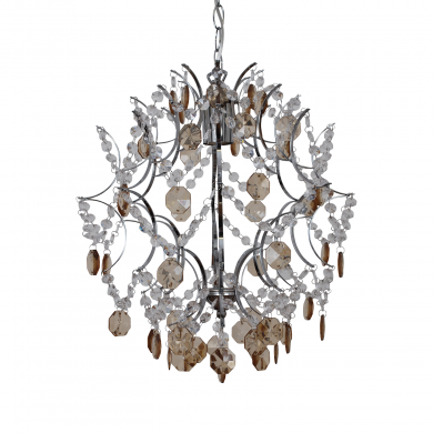 Chrome Ceiling Pendant with Beaded Decoration
