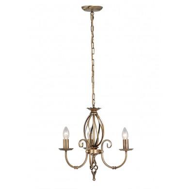Aged Brass 60W E14 3 Light Pendant