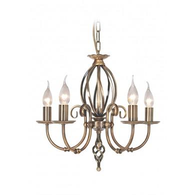 Aged Brass 60W E14 5 Light Pendant