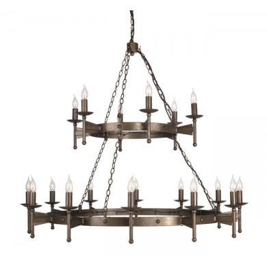 Old Bronze With Crystal Details 60W E14 1300mm Diameter 18 Light Pendant