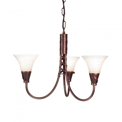 Copper Patina 60W E14 3 Light Pendant