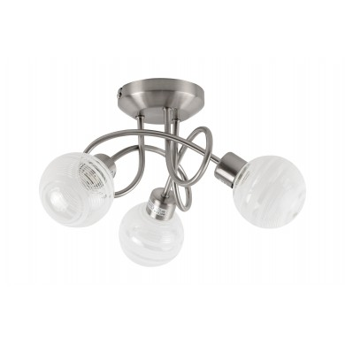 Satin Nickel 3 Way Flush With Striped Glass Shades