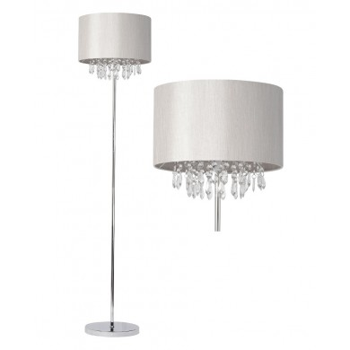 Silver Grey Faux Silk Jewelled Floor Lamp