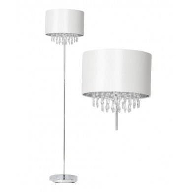 Cream Faux Silk Jewelled Floor Lamp