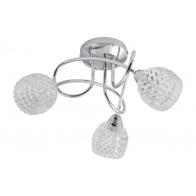Polished Chrome Crossover Fitting with Crystal Effect Glass Shades