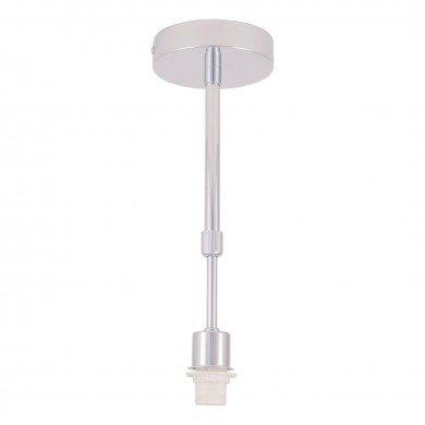 Single Adjustable Flush Light Polished Chrome Ceiling Cover & Lampholder For Fabric Shade