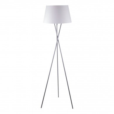 Grey Tripod Floor Lamp with White Fabric Shade