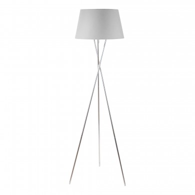 Chrome Twist Tripod Floor Lamp with Grey Fabric Shade