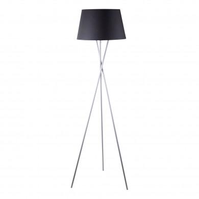 Grey Tripod Floor Lamp with Black Fabric Shade