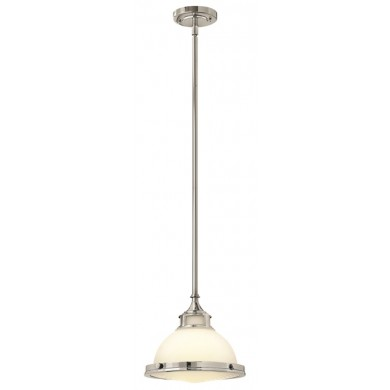 Chrome With White Glass 60W E27 Single Pendant