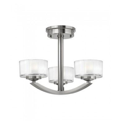 Brushed Nickel 60W G9 3 Light Semi-Flush