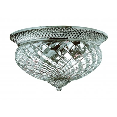 Polished Antique Nickel 60w E27 Dimmable 405mm Diameter Flush