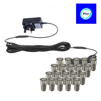 Set of 20 - 15mm Stainless Steel IP67 Blue LED Plinth Decking Kit