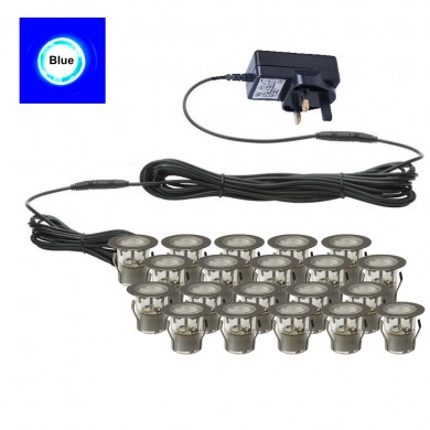 Set of 20 - 30mm Stainless Steel IP67 Blue LED Plinth Decking Kit