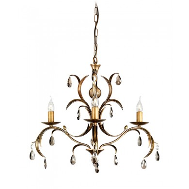 Metallic Bronze With Crystal Details 60W E14 3 Light Pendant
