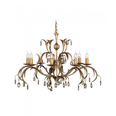 Metallic Bronze With Crystal Details 60W E14 8 Light Pendant