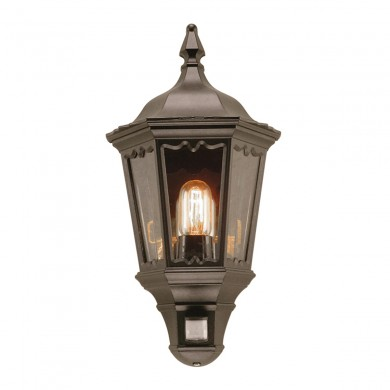 Black 100W E27 IP43 Garden Lantern With PIR
