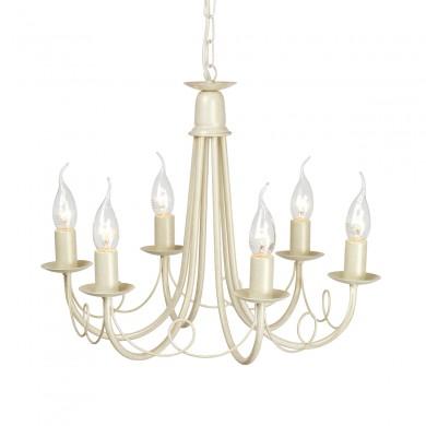Ivory/Gold 60W E14 6 Light Pendant