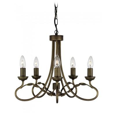 Black/Gold 60W E14 5 Light Pendant