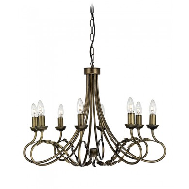 Black/Gold 60W E14 8 Light Pendant