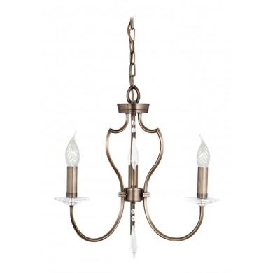 Dark Bronze With Crystal Details 60W E14 3 Light Pendant