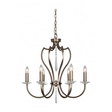 Dark Bronze With Crystal Details 60W E14 5 Light Pendant