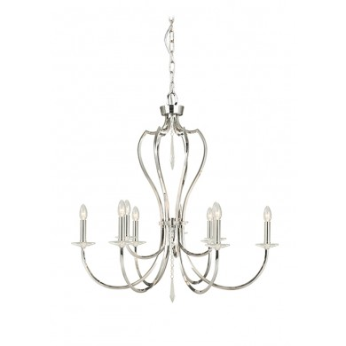 Nickel With Crystal Detailing 60W E14 9 Light Pendant