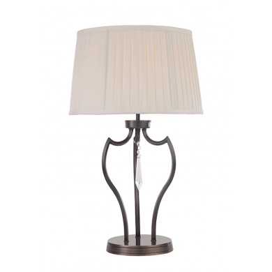 Dark Bronze With Off White Fabric Shade 60W E27 Table Lamp