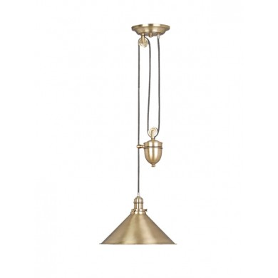 Antique Brass 100W E27 Rise And Fall Pendant