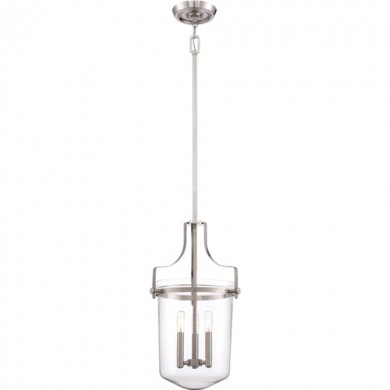 Brushed Nickel 40W E14 Single Pendant
