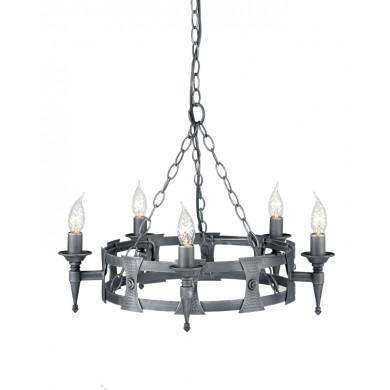 Black And Silver 60W E14 5 Light Pendant