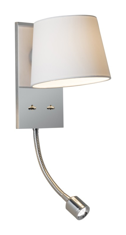 Chrome with white fabric shade 60w e27 wall light with 1w led chrome with white fabric shade 60w e27 wall light with 1w led reading light aloadofball Gallery