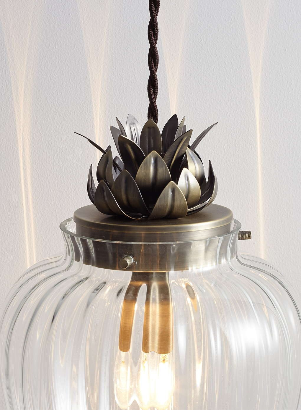 Glass And Antique Brass Ceiling Pendant Light