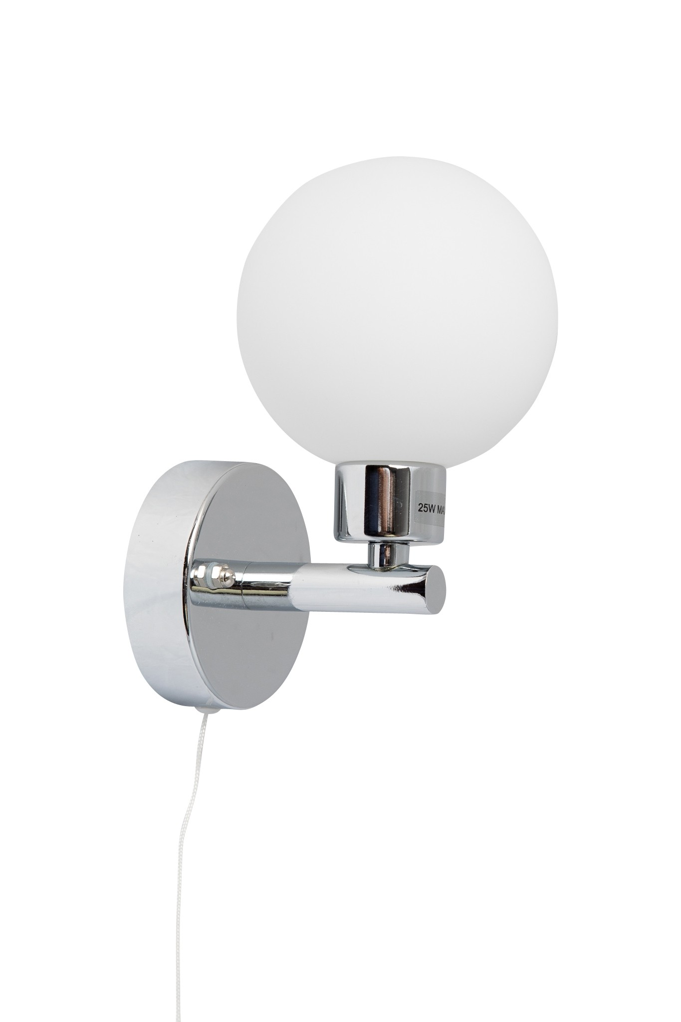 Pair Of Modern Chrome Ip44 Bathroom Wall Light With Pull Cord Switch For Bathrooms Pullswitch Polished Globe