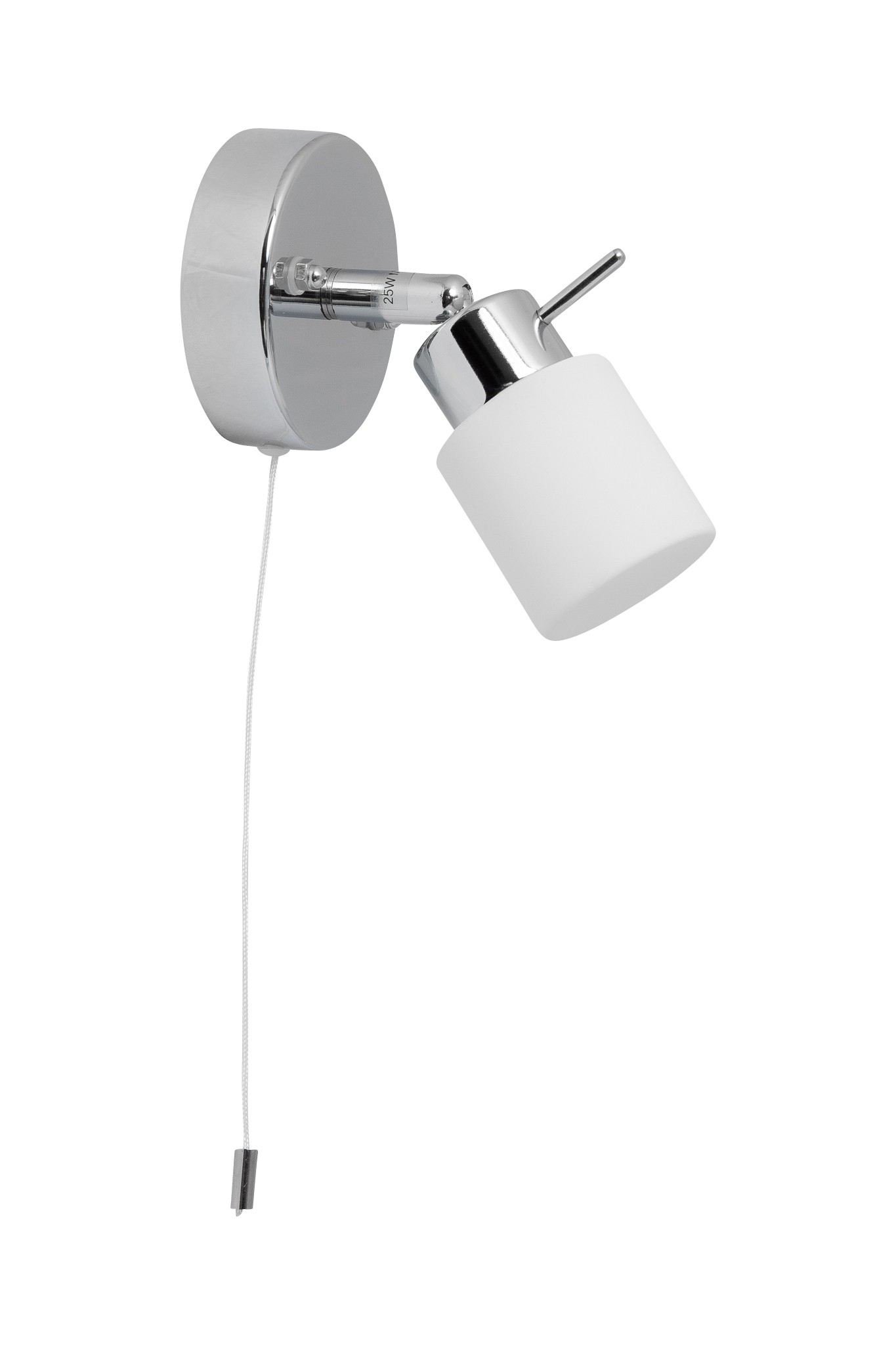 Polished Chrome 25w Bathroom Wall Light With Pull Cord Switch