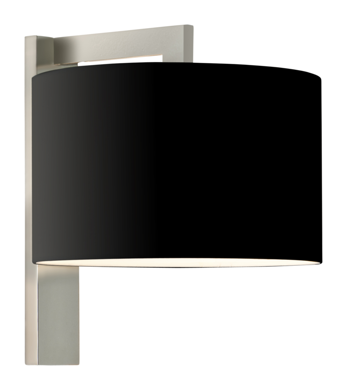Matt nickel with black fabric shade 60w e27 double insulated wall light aloadofball Images