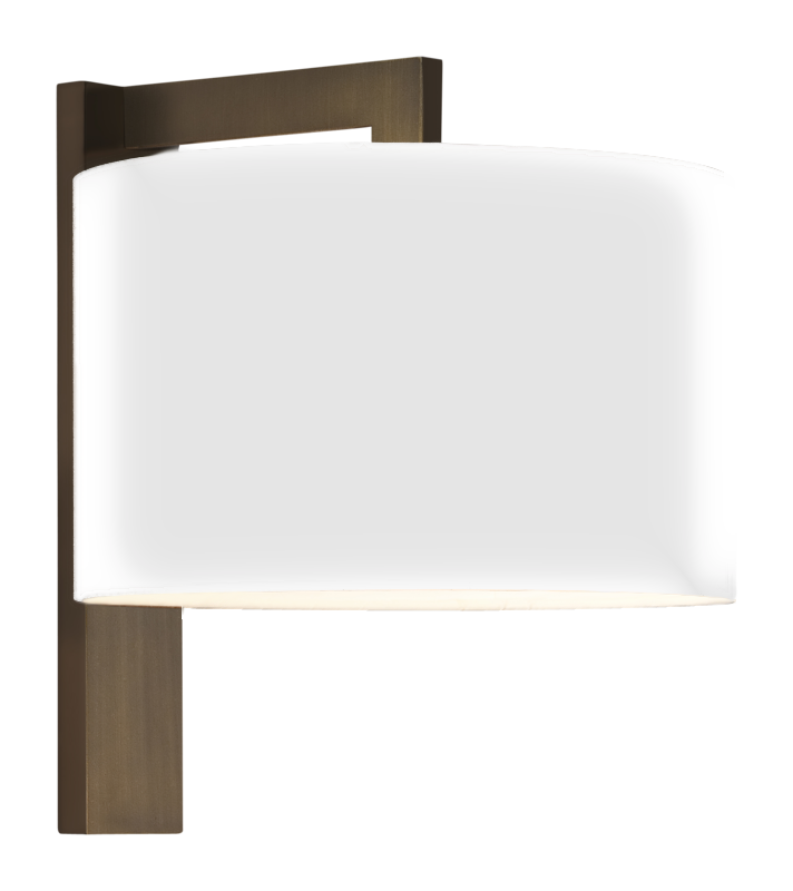 Bronze 60w e27 double insulated wall lamp with white fabric shade aloadofball Images