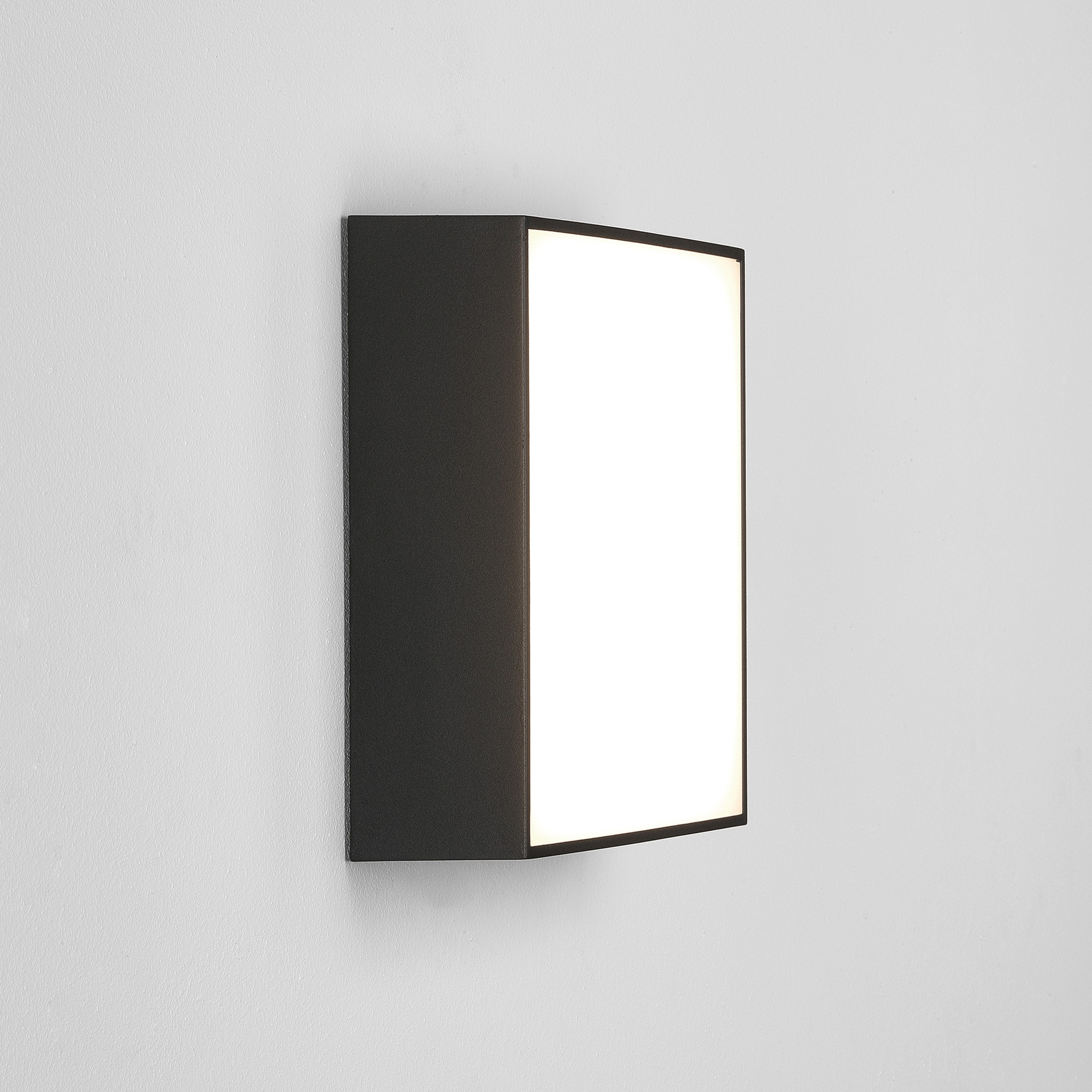 Textured black ip65 led 250mm square outdoor wall light